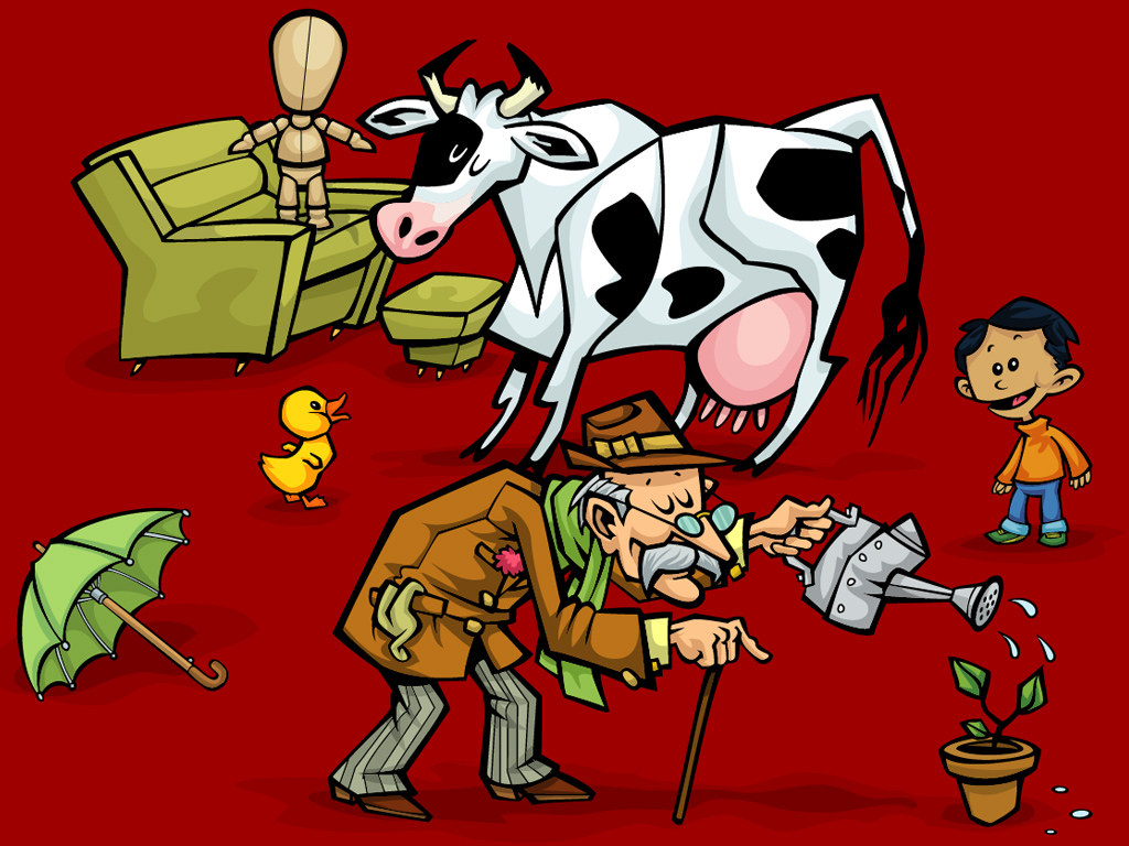Vaca viejo y niño